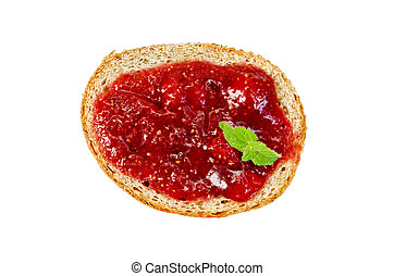 Bread with strawberry jam and mint