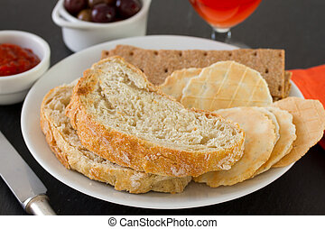 bread with toasts on plate