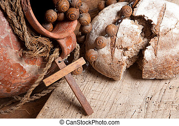 bread, y, vino, para, jesús
