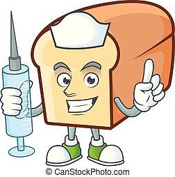 bread, zeichen, weißes, karikatur, form., krankenschwester