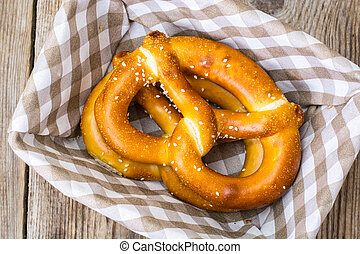 Breadbasket with traditional homemade Bavarian pretzels