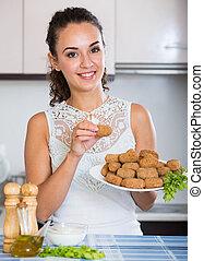 breadcrumbed, girl, crocchette, savoureux