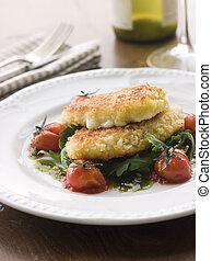 breadcrumbed, mozzarella käse, mit, gebraten, kirsch tomaten, und, pesto