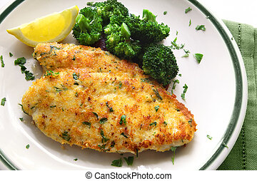 Breaded Chicken - Breaded and herbed chicken breast fillet,...