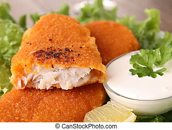 breaded fish and vegetable