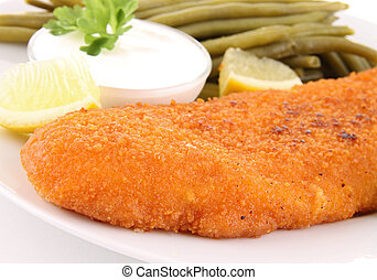 breaded fish and vegetables