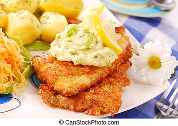 breaded fish for dinner - breaded fish with potato and salad...
