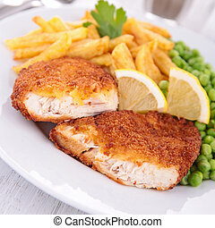 breaded fish or meat