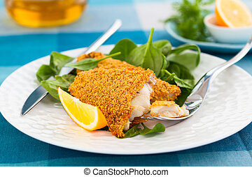 breaded fish with spinach