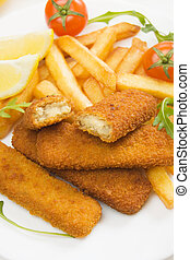 Breaded fish sticks with french fries