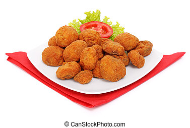 Breaded mushrooms - One portion of breaded mushrooms with ...