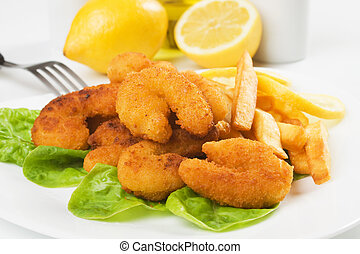 Breaded shrimp snack with french fries