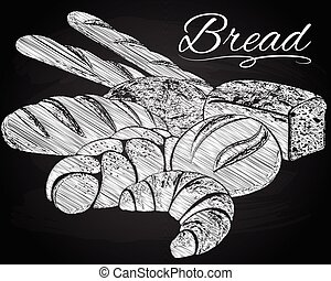 Breads on the chalkboard background