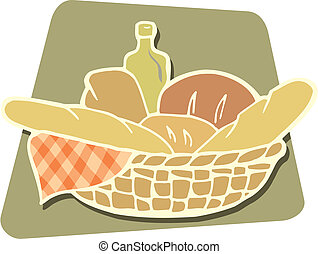 Breads vector - Basket of breads icon