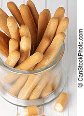 Breadsticks in jar