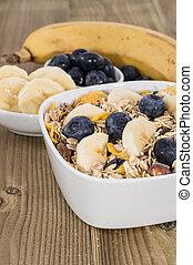 Breafkast on wooden background - Breakfast consisting of...