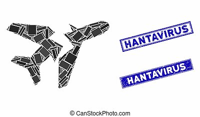 Break Airplane Mosaic and Grunge Rectangle Stamps