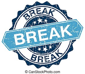 break blue round grunge stamp on white