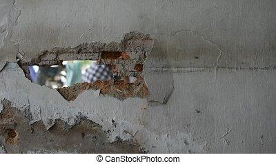 Break brick wall by drill, Timelapse