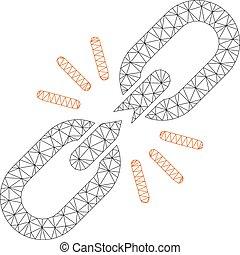 Break Chain Link Polygonal Frame Vector Mesh Illustration