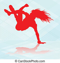 Break dancer in red silhouette.