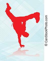 Break dance. - Break dancer in red silhouette.