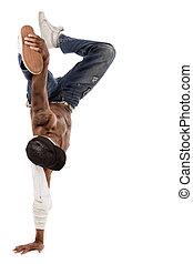 break-dance, danseur, étapes, exécuté