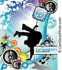 Extreme Break Dancing colorful Musical Event Background for Flyers