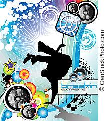 Break Dance Event Flyer - Extreme Break Dancing colorful...