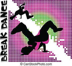 Guys dancing a break on different color background