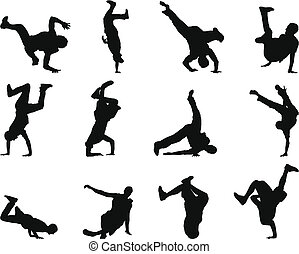 break-dance, silhouette, satz