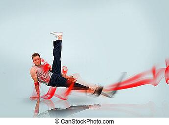 Break dancer in action