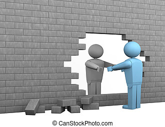 one broken wall with two cartoon characters, one helping the other to become free (3d render)