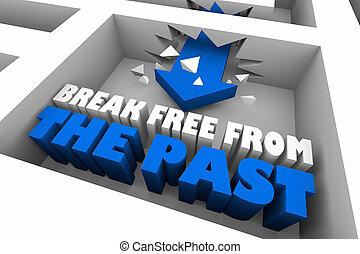 Break Free from the Past Maze Arrow 3d Illustration