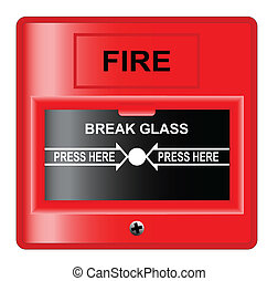 Break Glass - A 'break glass' fire alarm over a white...