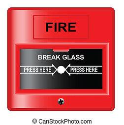 Break Glass - A 'break glass' fire alarm over a white...