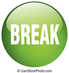 break green round gel isolated push button