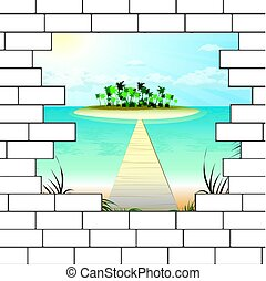break in a brick wall with a beautiful ocean beach