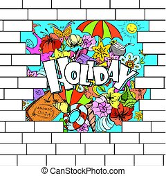 break in a brick wall with a summer background