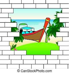 break in the brick wall with a beautiful ocean  beach