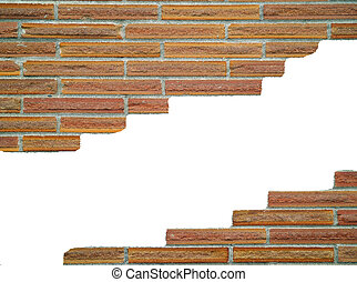 Break In The Wall - Brick wall background, with large white...