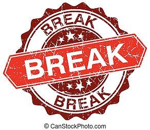 break red round grunge stamp on white