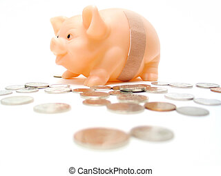 Break the Bank 2 - Piggy with a bandaid and money scattered...