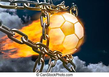 Break-through - Burning soccer ball tearing chains apart...