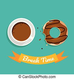 break time with coffee and chocolate on green background
