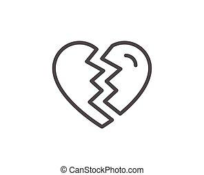 Break up Love line icon. Divorce sign. Valentines day...