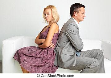 Break-up - Unhappy couple going through break-up
