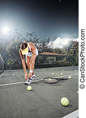 break - view of female  tennis player on  color back