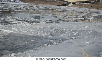 breakaway ice river - bridge fragment bight and a lot of...
