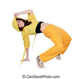 breakdance, bailando, encima, adolescente, acción, blanco